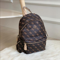Tas Guess Backpack Leeza Printed Bag Original - DarkBrown
