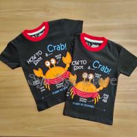 Baju Kaos Atasan Anak Laki Laki Cowok Hewan Animal Kepiting Crab Hitam