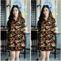 Kemeja Dress Long Hem Army Loreng Baju Wanita Best Seller Shirt - 605