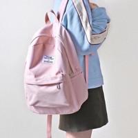 Tas Ransel Backpack VELLI Wanita Pria / Tas Travel Bahan Kanvas Tebal - Pink