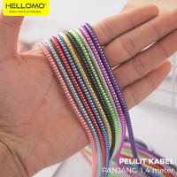 Pelilit Kabel Spiral Warna Metalic / Pelindung Cable Hp Charger Casan - Hitam