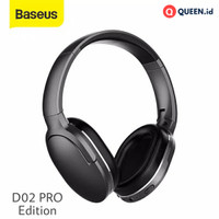 Baseus D02 PRO Headset Wireless Bluetooth - Wired AUX Stereo Headphone - Putih