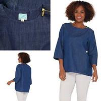 Baju denim wanita 3/4 Sleeve Top with zipper - Martha Stewart - S
