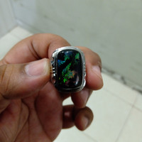 Cincin Batu Black Opal Kalimaya (Motif Naga)