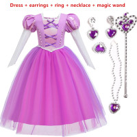 Baju Ultah Dress Putri Aurora Rapunzel + Aksesoris