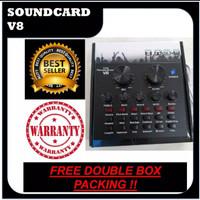 Soundcard Audio USB External V8 Efek Sound Card Elektronik Live Mixer