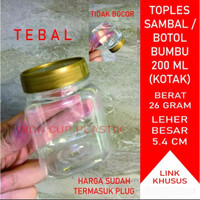 Toples Sambal / Botol Bumbu / Toples Plastik Jar 200 ml (KOTAK)