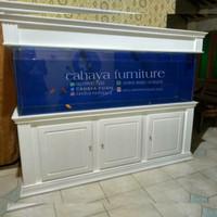 kabinet bufet aquarium minimalis ikan hias arwana kayu jati mewah