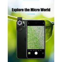 LED Mini Mikroskop Kaca Pembesar 100X Android IOS Smartphone - Promo