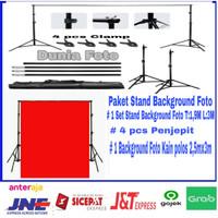 Paket Stand Background Foto kain Merah ukuran 2,5x3m