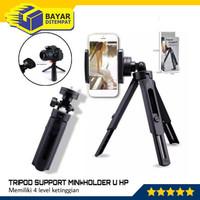 Tripod Support Mini Hp Kamera Phone Extendable 2 Tingkat + Holder U