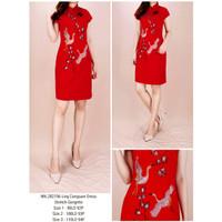 Dress merah cheongsam terusan baju fashion wanita import