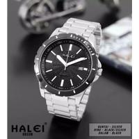 TERMURAH bisa COD Jam tangan pria original HALEI 8033 tanggal aktif - silver-black