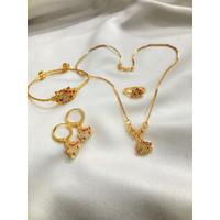 Set Perhiasan Anak Permata Lapis Emas Aksesoris Anak - Kalung+anting