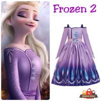 Kostum Elsa Ungu Frozen 2 Movie Baju Pesta Anak Dress Elsa Purple