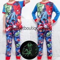 Piyama baju rumah glow in the dark Avenger   setelan anak cowo PI0202