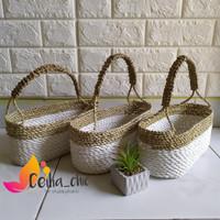 Keranjang Hampers oval anyaman seagrass/home decor/bunga artificial