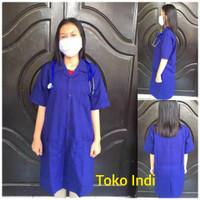 Baju Laboratorium Warna Navy Lengan Pendek Uk S M l
