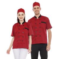 Baju Chef Kombinasi Abu - maroon, S