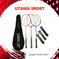1 Set Raket Badminton Yonex Pemula Tas Grip