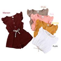 Romper Bayi Cewek / Baju Kodok Bayi / Jumper Bayi Lucu Dan Imut - Putih