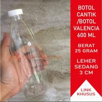 Botol Cantik 600 ml/Botol Plastik 600 ml/Botol Valencia 600 ml (25gr)