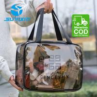 Tas Kosmetik Portable Model Transparan Bahan Plastik untuk Travel