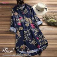 Baju Wanita Terbaru Tunik Import Linen Motif Bunga Busui Floral