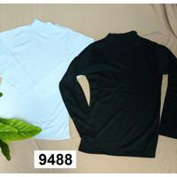 Turtle neck long shirt black & white / kaos manset hitam putih