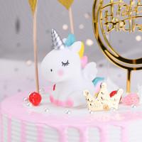 TOPPER CHIBI Kuda Unicorn 7CMPelangi RAINBOW Dekorasi Kue Ulang Tahun