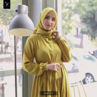 Baju Gamis Wanita Polos Busui Brand Lokal Vdees Shafana Dress - LIME