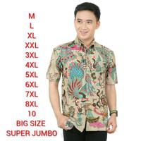 Baju Batik Pria Big Size Jumbo Kemeja Batik Lengan Pendek MERAK