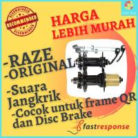 Hub Sepeda Raze by United Freehub + QR 4 Bearing 6 Bolt Suara Jangkrik - Hitam, 32 Hole