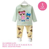 Setelan Baju Tidur Anak Perempuan Import Panjang LOL A Shirton - LOL A PP, Size 55
