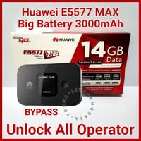 Modem E5577 Max Mifi 4G Huawei Wifi Unlock BYPASS 3000mAh TSEL 14GB