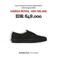 Sepatu Vans Authentic Classic Black Black Original BNIB - 42