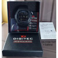 Jam Tangan Pria DIGITEC Step Tracker Tali Karet Hitam DS-3108 Original