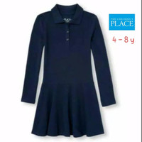 PLACE POLO DRESS ANAK PEREMPUAN LENGAN PANJANG NAVY 4 - 8 Y