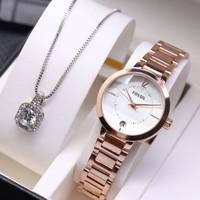 Jam tangan wanita fossil plus kalung liontin cantik