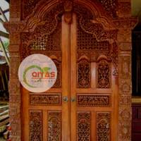 set pintu rumah bahan kayu jati TIPE GEBYOK FINISHING harga termurah