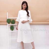 Dress Hamil Menyusui Putih plisket