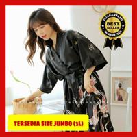 kimono jubah baju mandi wedding robe makeup wanita bahan satin sutra
