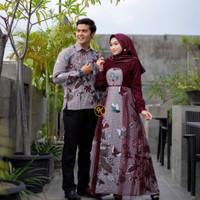 Couple Gamis Baju Batik Pria Wanita Lengan Panjang Modern