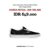Sepatu Vans Authentic Classic Black White Original BNIBWT - 42