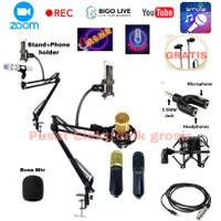 Paket Mic Condenser BM-800 Stand Arm m phone holder Poscast Recording
