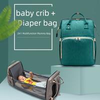 Expandable Travel Diaper Baby Bed Bag Tas Ransel Bayi Lipat Popok