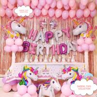 (COD) DEKOR BIRTHDAY UNICORN PINK CERIA/PAKET MEWAH/BACKDROP