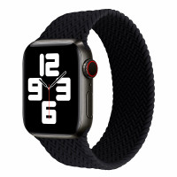 Apple Watch Strap SOLO Band BRAIDED SE 6 5 4 3 2 1 Silicone 38mm 40mm - BLACK, M