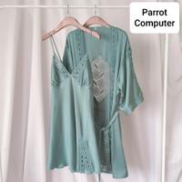 Kimono Set Wanita Hailey Baju Tidur Cewek Loungewear Sleepwear Silk