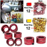 1Pack isi 10 cs Monel Ring 12 Variasi Aksesoris Motor Bahan Aluminium - Merah